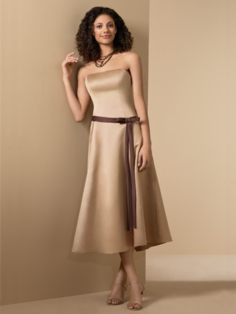 brown bm dress with gold shoes the knot