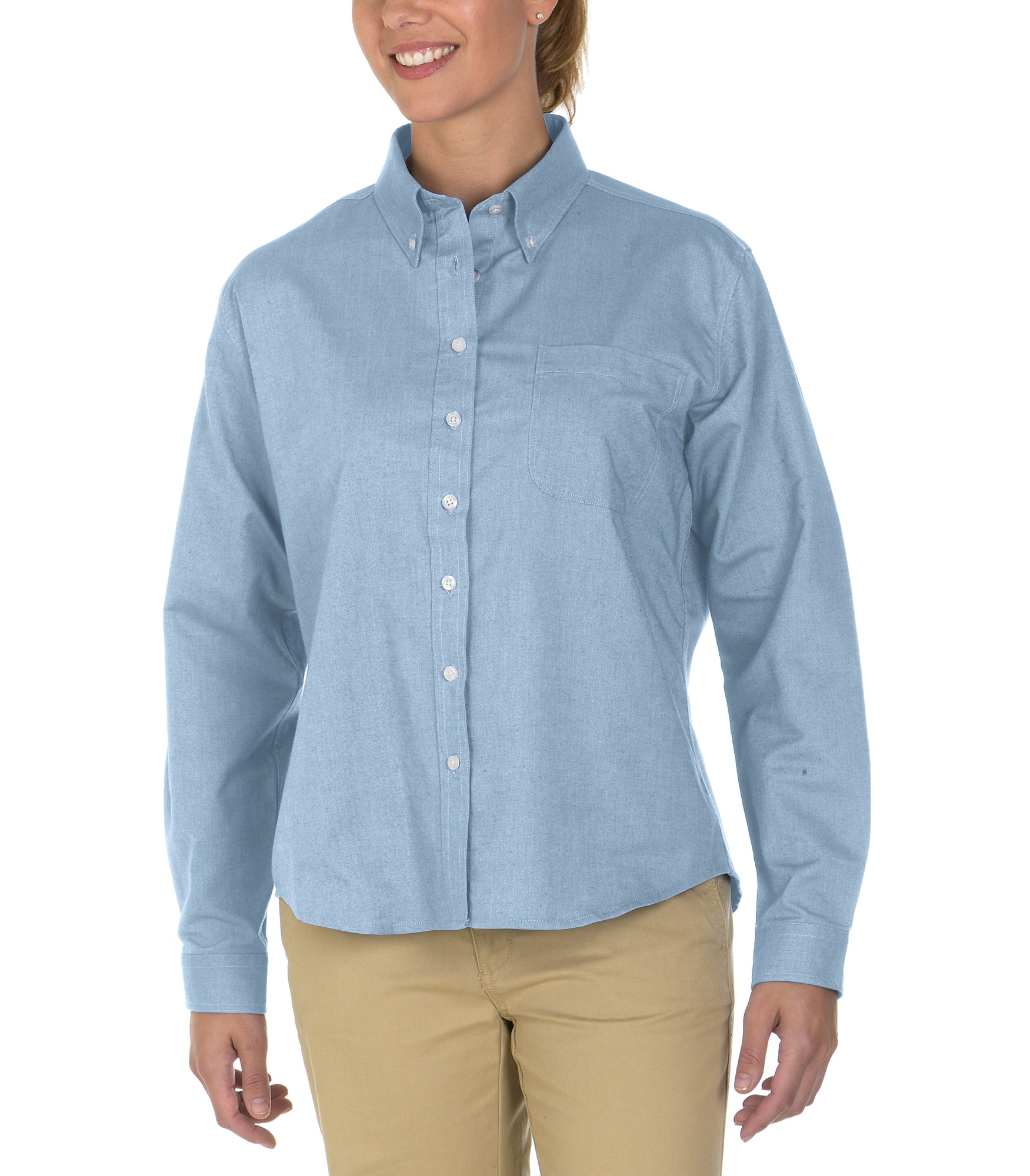 Amp ca oxford international ladies long sleeve button for Oxford long sleeve button down shirt