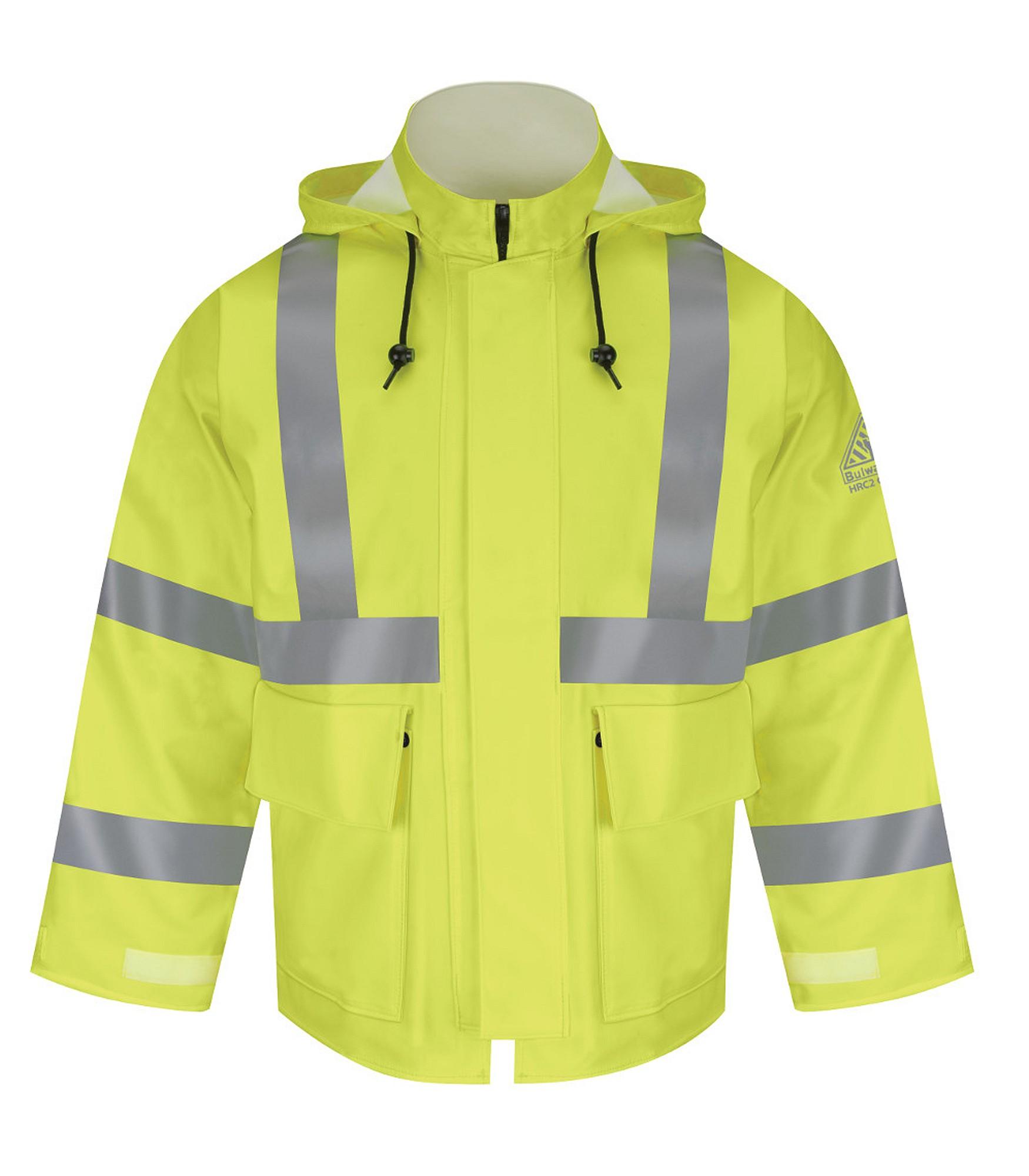 Take-up Tabs on Cuff Yellow//Green Bulwark Flame Resistant 10 oz Hi-Visibility Regular Rain Jacket HRC2