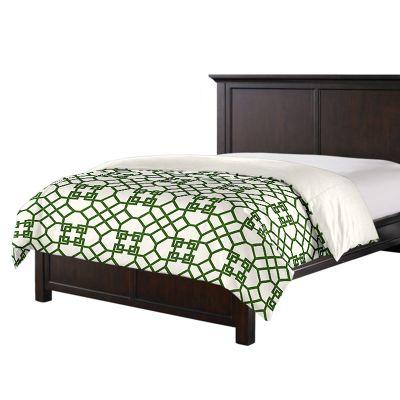 Asian-Style Green Trellis Duvet Cover