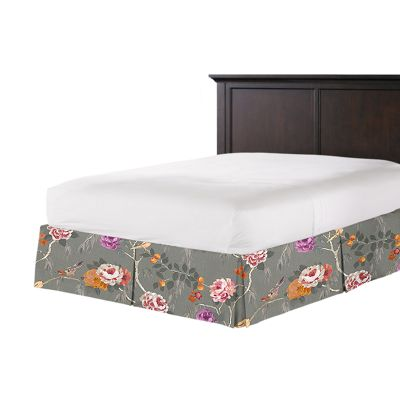 Painterly Pink & Gray Floral Bed Skirt with Pleats