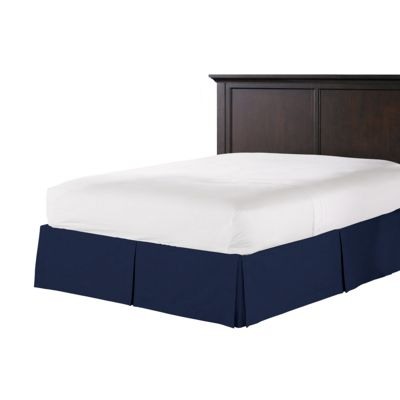 Navy Blue Velvet Bed Skirt with Pleats