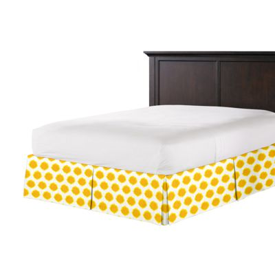 Bright Yellow Dot Bed Skirt with Pleats
