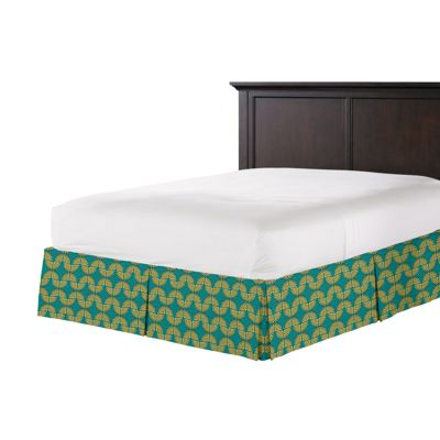 Metallic Gold & Teal Fan Bed Skirt with Pleats