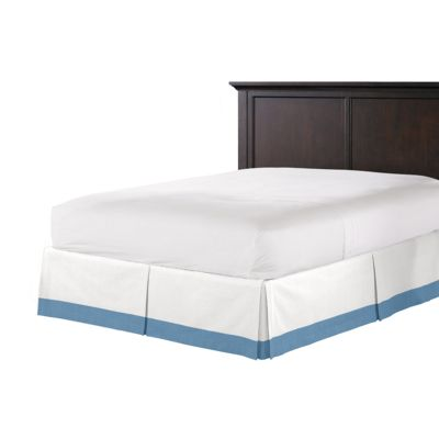 White & Bright Blue Linen Bed Skirt