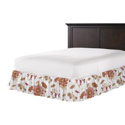 Sketched Pink Floral Ruffle Bed Skirt