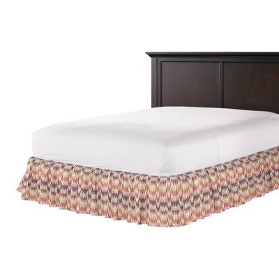Orange & Pink Flame Stitch Ruffle Bed Skirt