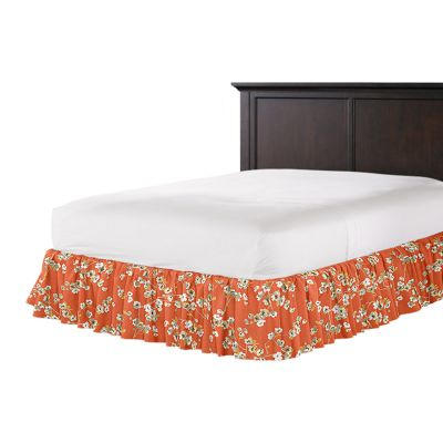 Orange Cherry Blossom Ruffle Bed Skirt