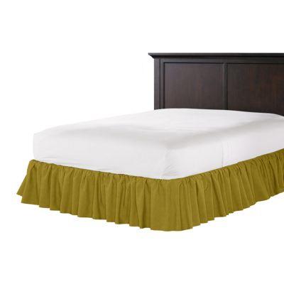 Chartreuse Green Velvet Ruffle Bed Skirt