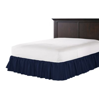 Navy Blue Velvet Ruffle Bed Skirt