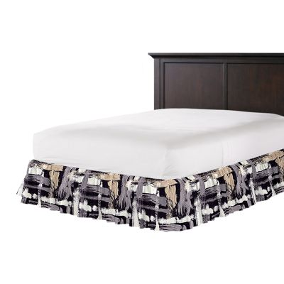 Black & White Brushstrokes Ruffle Bed Skirt