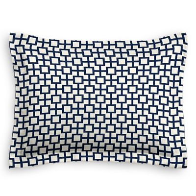 Navy Blue Square Trellis Sham