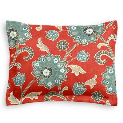 Modern Aqua & Red Floral Sham Pillow Cover
