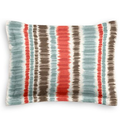 Aqua & Red Ikat Stripe Sham