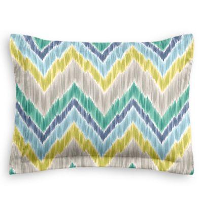 Gray, Green & Blue Chevron Sham Pillow Cover