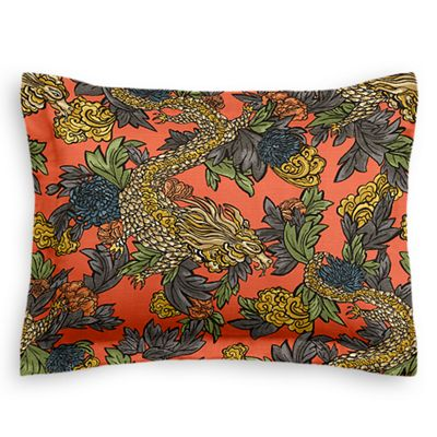 Red Chinoiserie Dragon Sham Pillow Cover