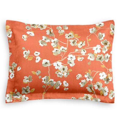 Coral Orange Cherry Blossom Sham Pillow Cover