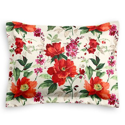 Bold Green & Red Floral Sham Pillow Cover
