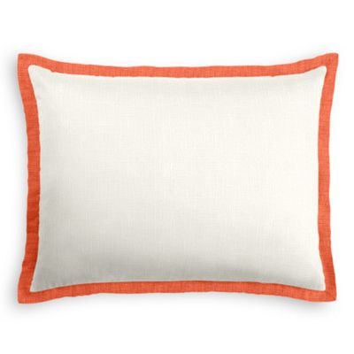 ivory Linen Sham with Coral Trim