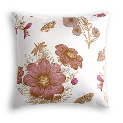 Sketched Pink Floral Euro Sham
