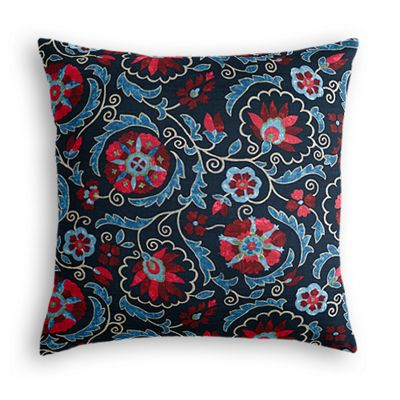 Red & Navy Blue Suzani Euro Sham