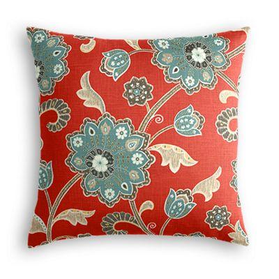 Aqua & Red Floral Euro Sham