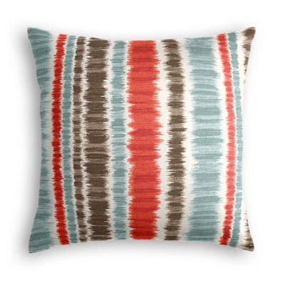 Aqua & Red Ikat Stripe Euro Sham