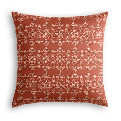 Orange Quatrefoil Block Print Euro Sham