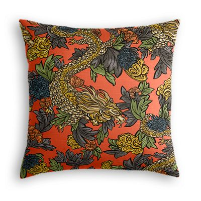 Red Chinoiserie Dragon Euro Sham, Simple