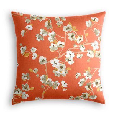 Coral Orange Cherry Blossom Euro Sham, Simple