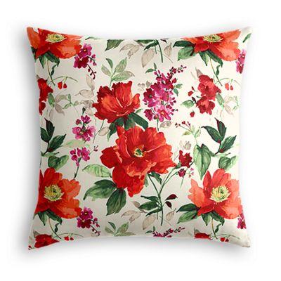 Bold Green & Red Floral Euro Sham, Simple