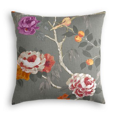 Painterly Pink & Gray Floral Euro Sham