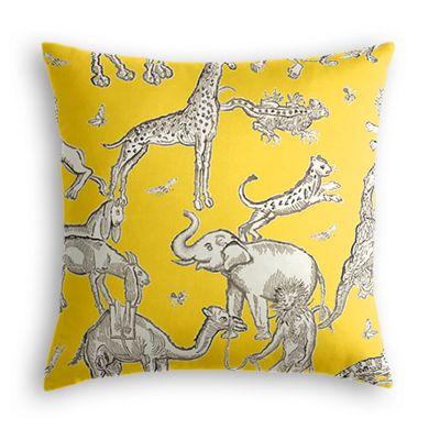 Yellow & Gray Zoo Animal Euro Sham