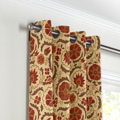 Beige & Red Suzani Grommet Curtains