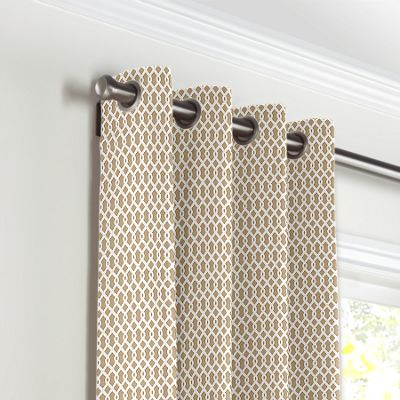Beige Mini Trellis Grommet Curtains
