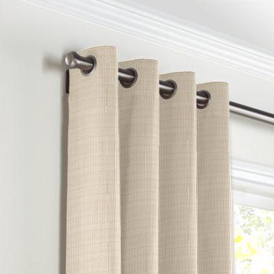 Beige Pinstripe Grommet Curtains
