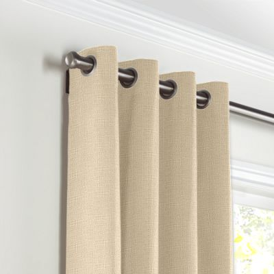 Beige Lightweight Linen Grommet Curtains