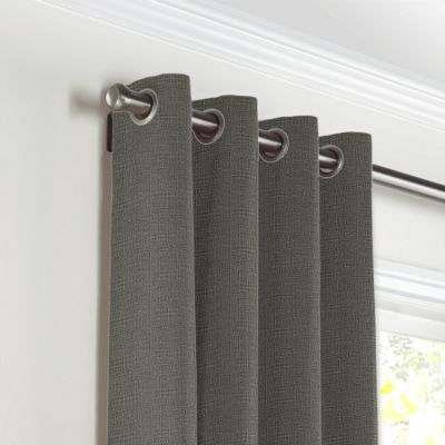 Charcoal Gray Linen Grommet Curtains