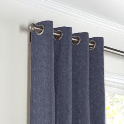 Navy Blue Lightweight Linen Grommet Curtains