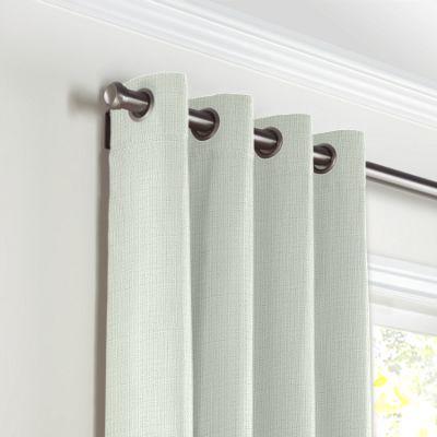 Pale Seafoam Slubby Linen Grommet Curtains