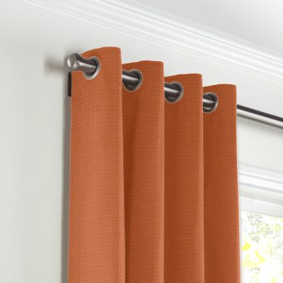Burnt Orange Slubby Linen Grommet Curtains