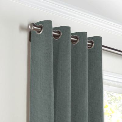 Charcoal Slubby Linen Grommet Curtains