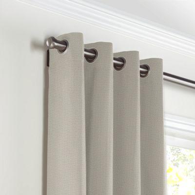 Beige Slubby Linen Grommet Curtains