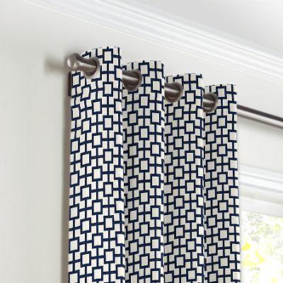 Navy Blue Square Trellis Grommet Curtains