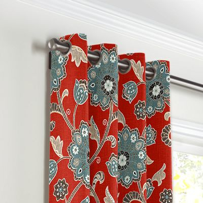 Aqua & Red Floral Grommet Curtains