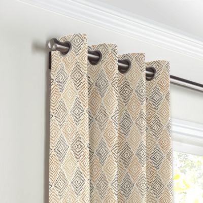 Beige Diamond Block Print Grommet Curtains