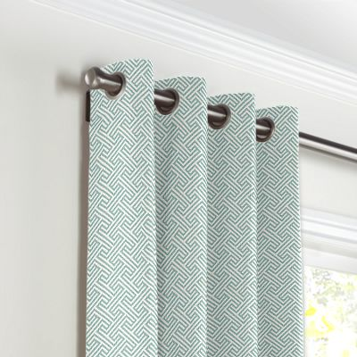 Aqua Geometric Maze Grommet Curtains