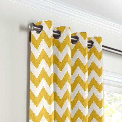 Bright Yellow Chevron Grommet Curtains