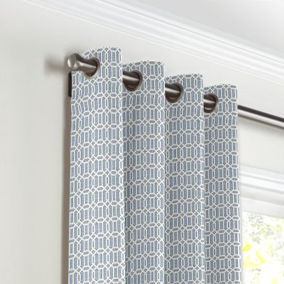 Sky Blue Lattice Grommet Curtains