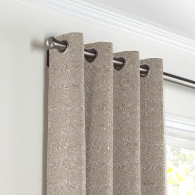Silvery Gray Metallic Linen Grommet Curtains